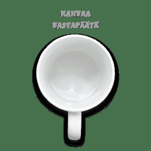 Kuvamuki kahvaa vastapäätä